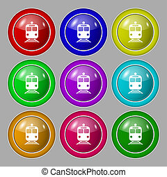 train icon sign symbol on nine round colourful buttons...