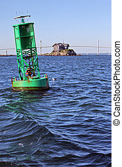 Newport bridge and buoy - Newport Bridge in Rhode Island...