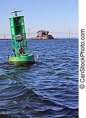 Newport bridge and buoy - Newport Bridge in Rhode Island...