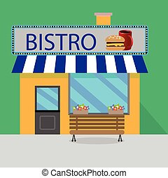 Building bistro cartoon style
