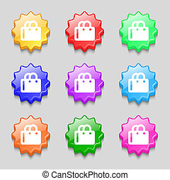 shopping bag icon sign symbol on nine wavy colourful buttons...