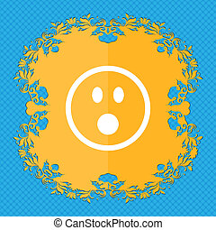Shocked Face Smiley . Floral flat design on a blue abstract...