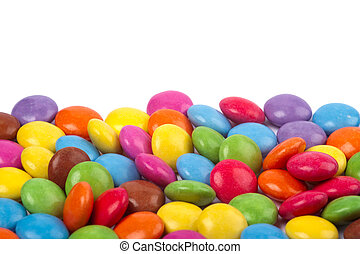 Candies on a white background - a bright and colourful...