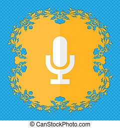microphone. Floral flat design on a blue abstract background with place for your text.