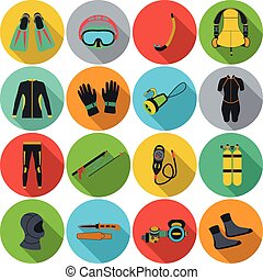 Scuba diving equipment. Sport underwater, water sea, glove...