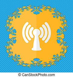 Wi-fi, internet Floral flat design on a blue abstract...