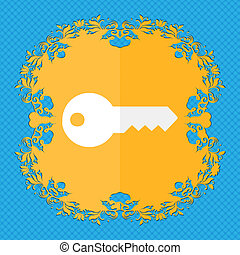 key Floral flat design on a blue abstract background with...