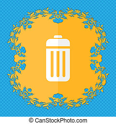 The trash. Floral flat design on a blue abstract background with place for your text.