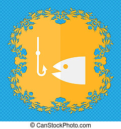 Fishing. Floral flat design on a blue abstract background with place for your text.