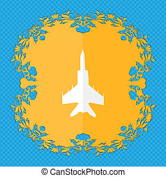 fighter Floral flat design on a blue abstract background...