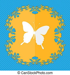 butterfly. Floral flat design on a blue abstract background with place for your text.