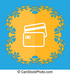 Credit card. Floral flat design on a blue abstract...