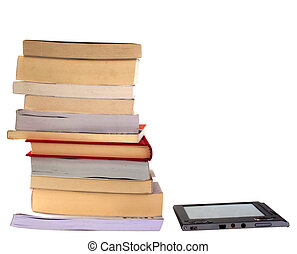eBook and books - eBook reader side by side with big pile of...