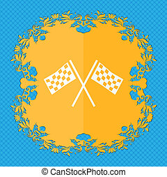Race Flag Finish icon sign. Floral flat design on a blue abstract background with place for your text.