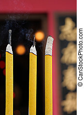 three incenses in chinese temple