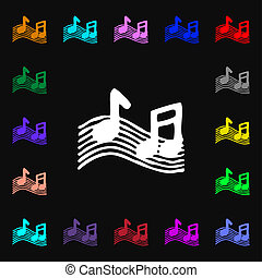 musical note, music, ringtone icon sign. Lots of colorful...