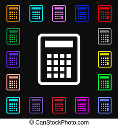 Calculator icon sign. Lots of colorful symbols for your design.