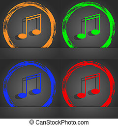 Music note sign icon. Musical symbol. Fashionable modern style. In the orange, green, blue, red design.