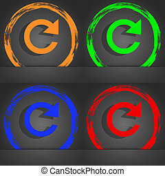 update sign icon. Full rotation arrow symbol. Fashionable modern style. In the orange, green, blue, red design.