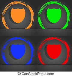Shield sign icon. Protection symbol. Fashionable modern style. In the orange, green, blue, red design.