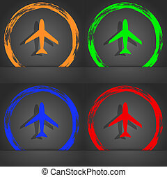 Airplane sign. Plane symbol. Travel icon. Flight flat label. Fashionable modern style. In the orange, green, blue, red design.