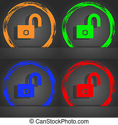 Lock sign icon. Locker symbol. Fashionable modern style. In the orange, green, blue, red design.