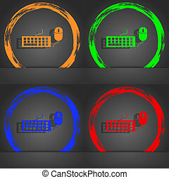 Computer keyboard and mouse Icon. Fashionable modern style. In the orange, green, blue, red design.