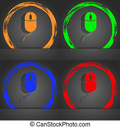 Computer mouse sign icon. Optical with wheel symbol. Fashionable modern style. In the orange, green, blue, red design.