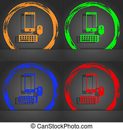 smartphone widescreen monitor, keyboard, mouse sign icon. Fashionable modern style. In the orange, green, blue, red design.