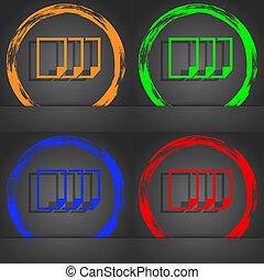 コピー, 青, 流行, 現代, シンボル, 印, オレンジ, 複写, ファイル, 緑, アイコン, 文書, スタイル, 赤, デザイン