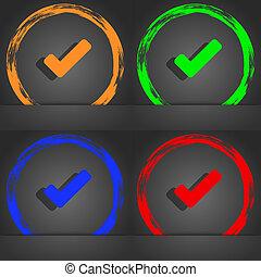 azul, na moda, marca, modernos, Símbolo, cheque, laranja, verde,  tik, verde, ícone, estilo, desenho