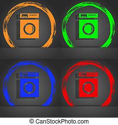 洗滌, 藍色, 流行, 簽署, 現代, 機器, 橙, 綠色, 圖象, 風格, 紅色, 設計