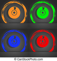 CD or DVD icon sign. Fashionable modern style. In the orange, green, blue, red design.