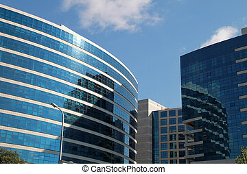 modern buildings on blue sky background