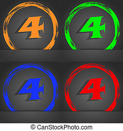 number four icon sign Fashionable modern style In the...