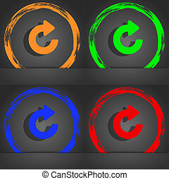 Upgrade, arrow icon symbol. Fashionable modern style. In the orange, green, blue, green design.