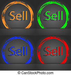 Sell sign icon. Contributor earnings button. Fashionable modern style. In the orange, green, blue, red design.