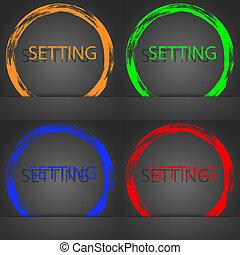 齒輪, 流行,  cogwheel, 現代, 符號, 機制, 簽署, 橙, 藍色, 小船, 綠色, 圖象, 設置, 風格, 紅色, 設計