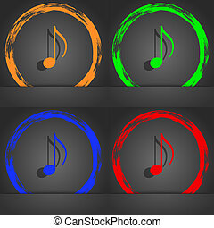 musical note, music, ringtone icon symbol. Fashionable...