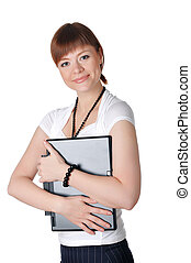 charming young business woman in a white shirt and black...