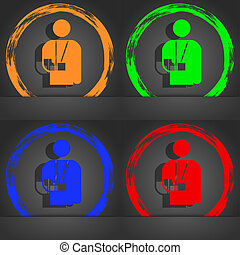 broken arm, disability icon symbol. Fashionable modern style. In the orange, green, blue, green design.