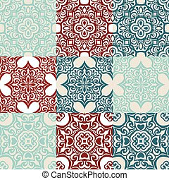 set of Seamless vintage ornametal pattern. - seamless...