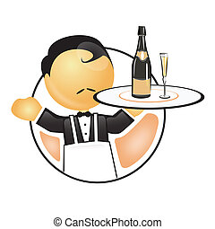 waiter holding a tray with wine and glass