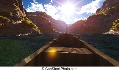 boating in canyon