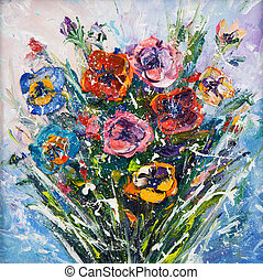 Flower bouquet - Original oil painting of beautiful vase or...