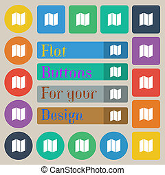 map icon sign Set of twenty colored flat, round, square and...