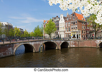 canal ring, Amsterdam - bridges and houses of canal ring at...