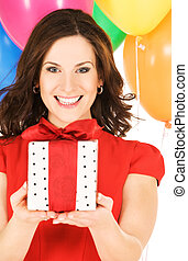gift - happy woman with gift box and balloons