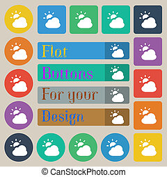 weather icon sign Set of twenty colored flat, round, square...