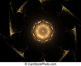 fractal radial pattern on the subject of science technology...